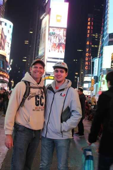 Miles and I in Times Square.