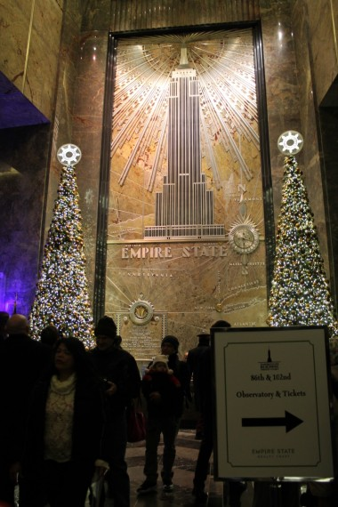 Lobby of the Empire State Building.  Art Deco overload!