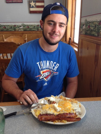 "Miles with a ""before"" picture of his Diet Breakfast Platter."