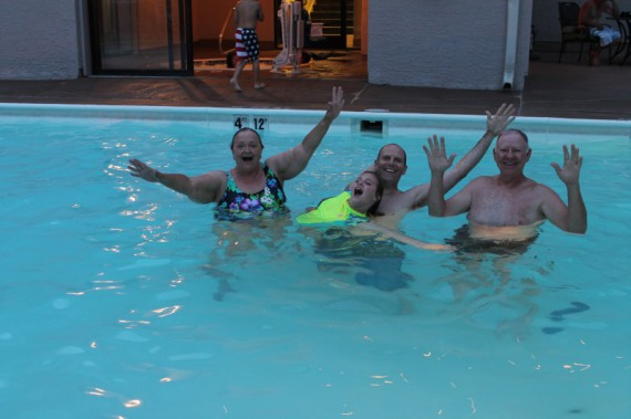 PK, Marissa, Steve and KK celebrating in the pool