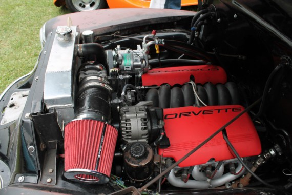 Aftermarket engine in the 1949 Chevy.