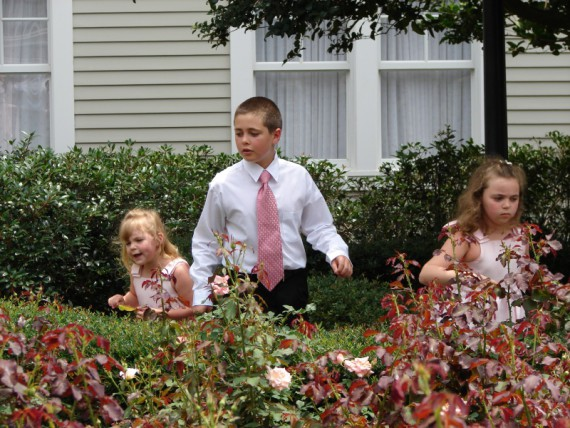 Marissa, Miles and Mallory looking for lizards (Wedding Day)