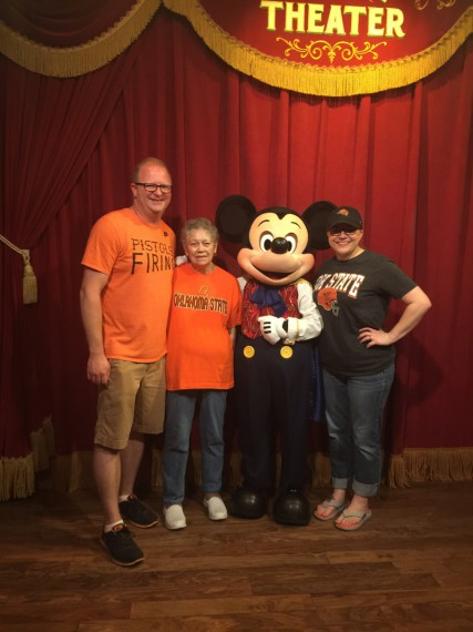 Scott, Erin, Grandma Mary and Mickey Mouse