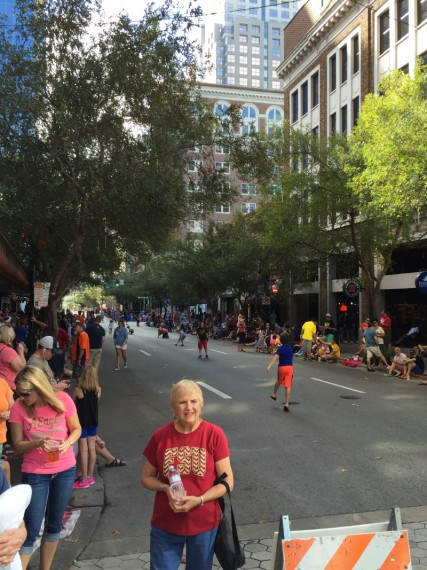 We watched the parade here on Orange Street.