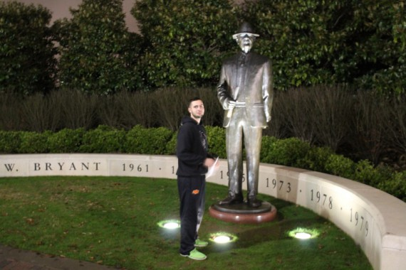 Each coach with a national Championship has a statue outside the stadium. Here is Bear Bryant next to Miles, to give it some scale.