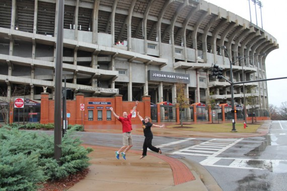 Jumping for joy at Jordan-Hare Stadium.
