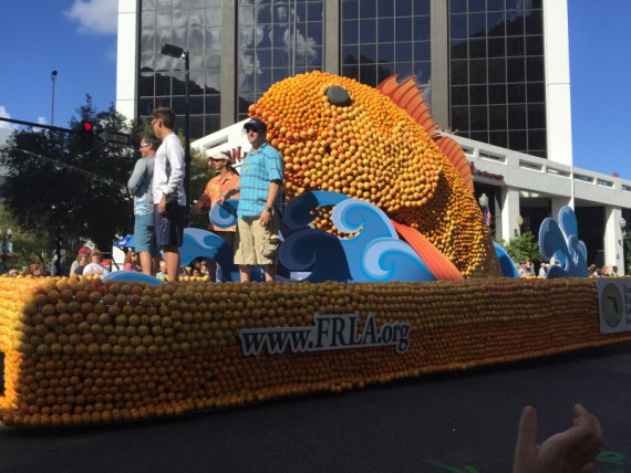 The floats were made out of citrus.