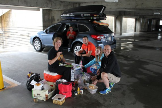Parking garage picnic.