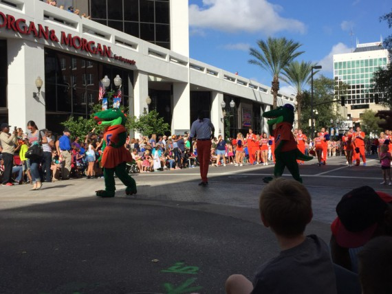 The Florida Gators mascots and cheer team. Florida and Michigan are playing in this year's Citrus Bowl.
