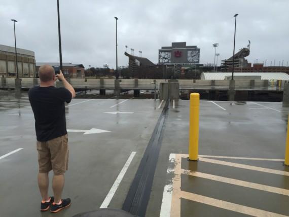 Scott admiring Jordan-Hare Stadium.