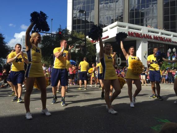 The Michigan cheer team.