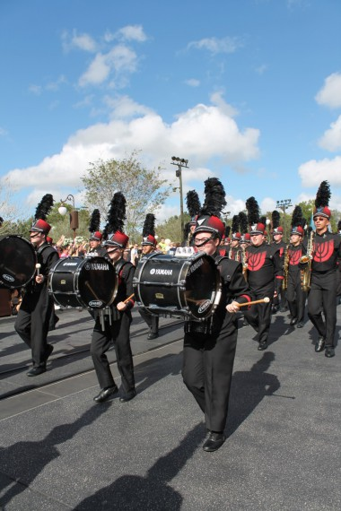Mallory marching in front of the Castle. (Far right bass drum)