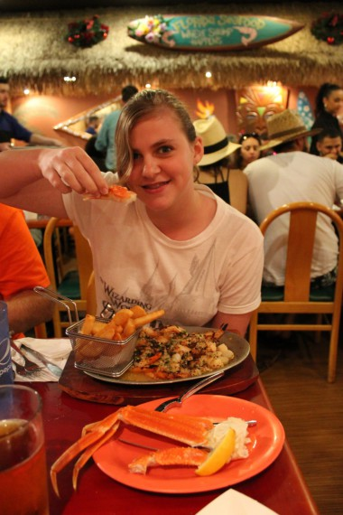 Marissa was all over the seafood platter.