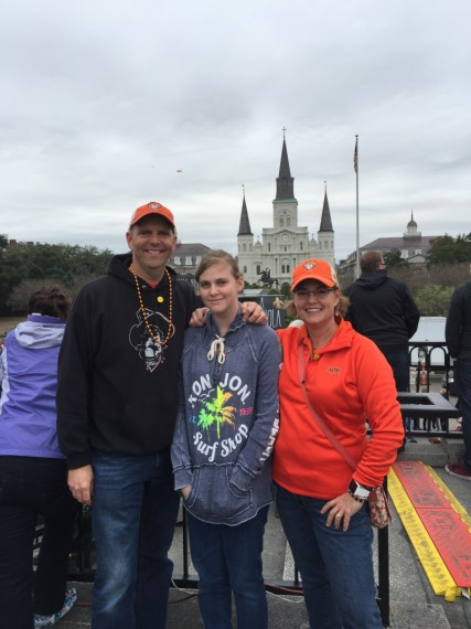 Standing in front of Jackson Square.