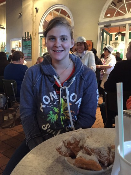 Marissa and her beignets at Café du Monde.  She seemed to perk up after getting her French doughnuts.