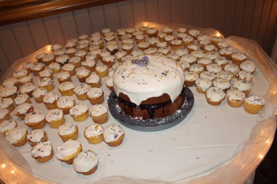 Preston & family made the cake and cupcakes. Blueberry-filled and tasty!
